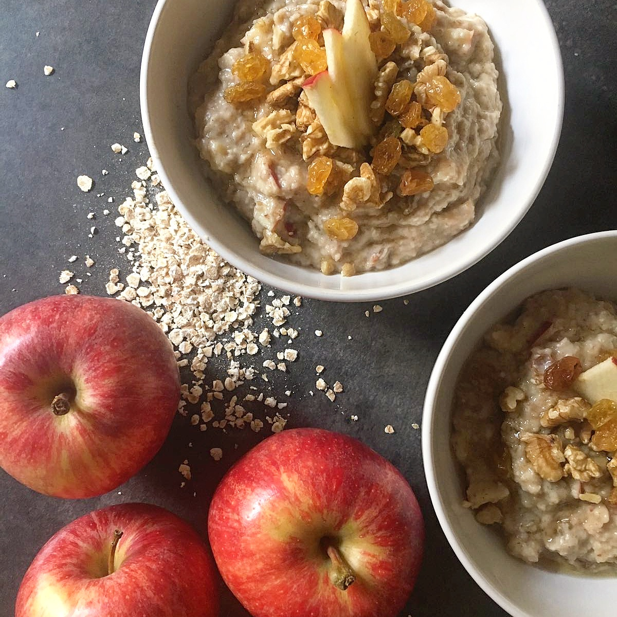 Classic apple and cinnamon breakfast porridge